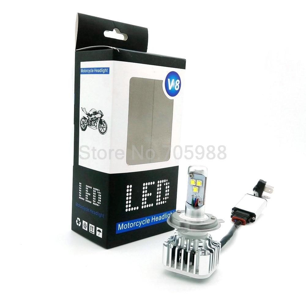 ФОТО HOT SALE FLIP CHIP Motorcycle LED Headlamp Bi-xenon LED Autocycle Headlight Dual LED Lights High and Low Light Kit