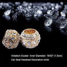 4pcs/lot Crystal Car Seat Headrest Collar Charm Rhinestone Golden Color Body Accessory style