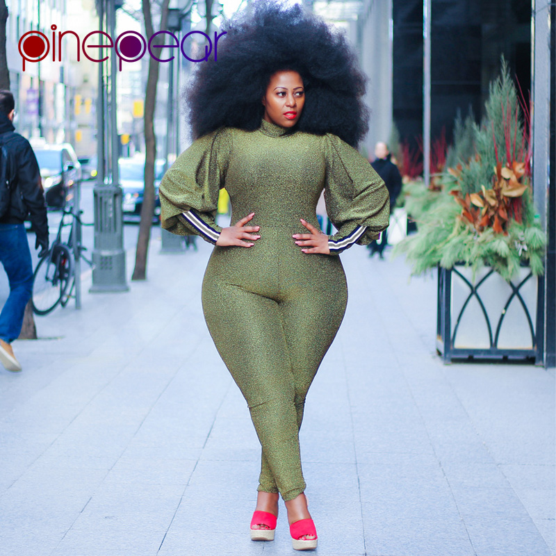f267638e1934 Detail Feedback Questions about PinePear Plus Size Lantern Sleeve Jumpsuit  2019 Women Long Sleeve Elegant Romper Office Lady Formal Party High Street  ...
