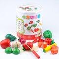Corte Corte Feliz Crianças Pretend Play Set crianças brincar de casinha brinquedos De Madeira Brinquedos De Cozinha Frutas e Legumes