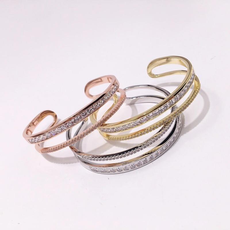 Bridal Wedding Adjustable Crystal Bangle New Fashion Brand Copper with Cubic Zircon C Shape Women Bracelet & Bangle