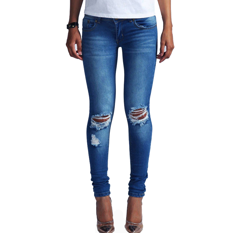 2017 Hot Hole Ripped Jeans for Women Skinny Pencil Pants Sexy Slim Trousers Low Waist Boyfriend Denim Pants Female Femme P45 omilka women ripped boyfriend jeans 2017 mid waist hole knee skinny pencil pant slim elastic cut out white denim jeans for women