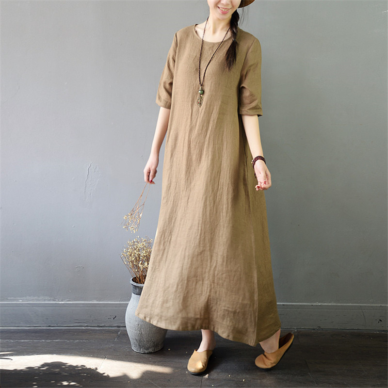 SCUWLINEN 2019 Summer Women Dress Casual Solid O neck Half sleeve A line Long Linen Dress