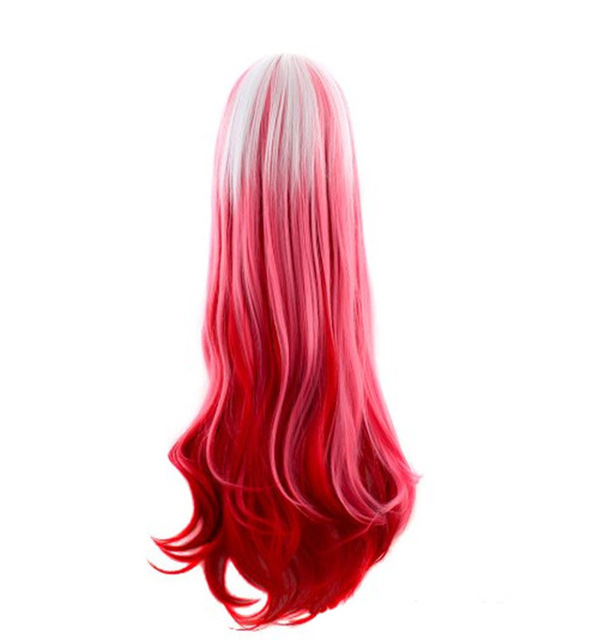 Cute Anime Lolita White Red Gradient Color Synthetic Long Curly Halloween  Costume Cosplay Party Wig fe1c533f33ec