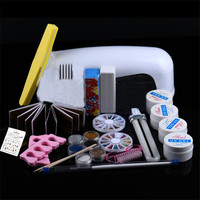 Colorwomen 1 Set 9W Dryer Lamp Tube UV Gel Kit Brush Buffer Toe Seperator Glitter Powder Tools Nail Art Tips Glue Kit 160927
