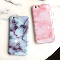 Pink Marble Granite Soft TPU Cover Case For IPhone 7 7plus 6 6s Plus