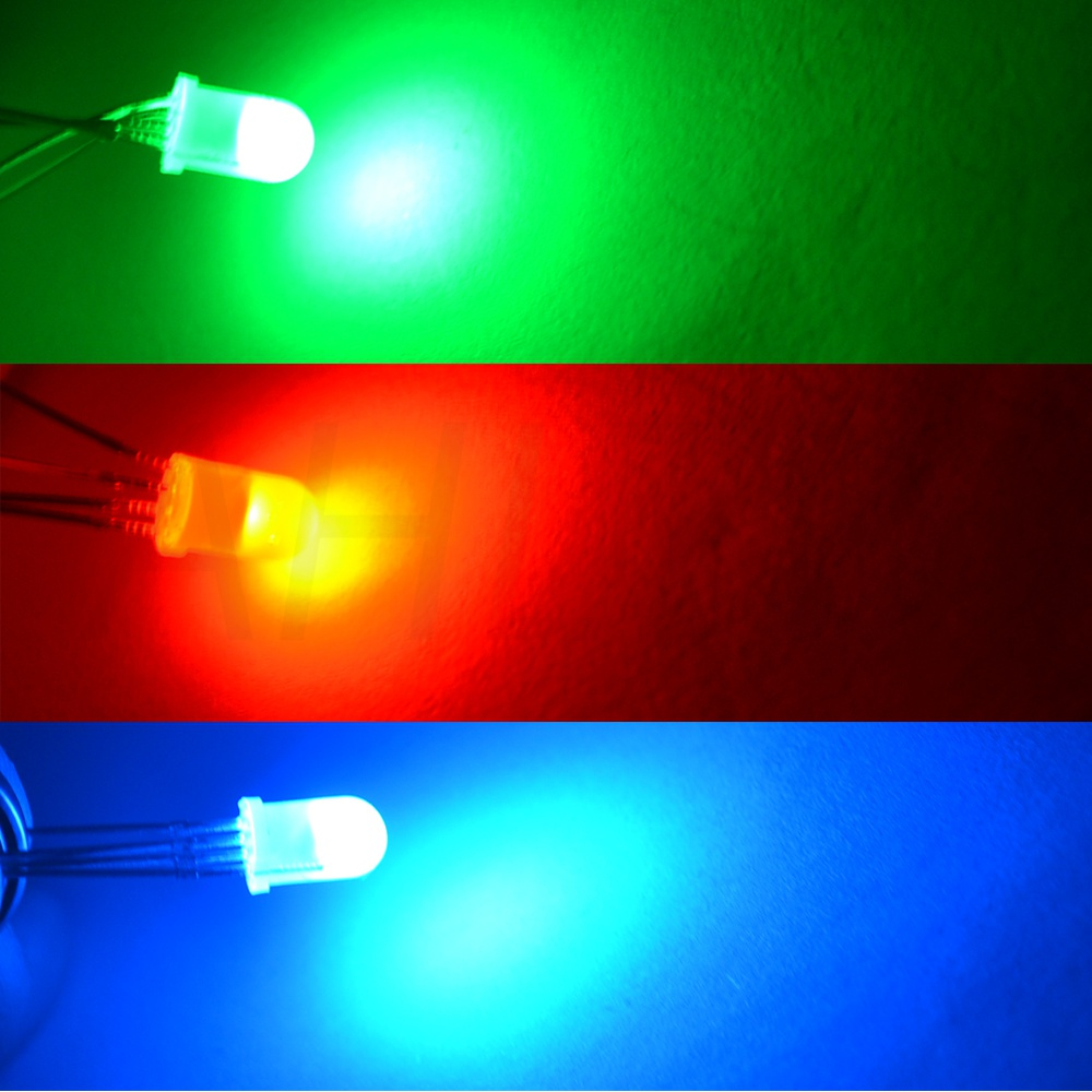 Ahltd F5 5mm Round 4pin Diffused RGB Tri-Color Common Cathode Common Anode Red Green Blue emitting Diodes LED Lamp Bulb Diodes