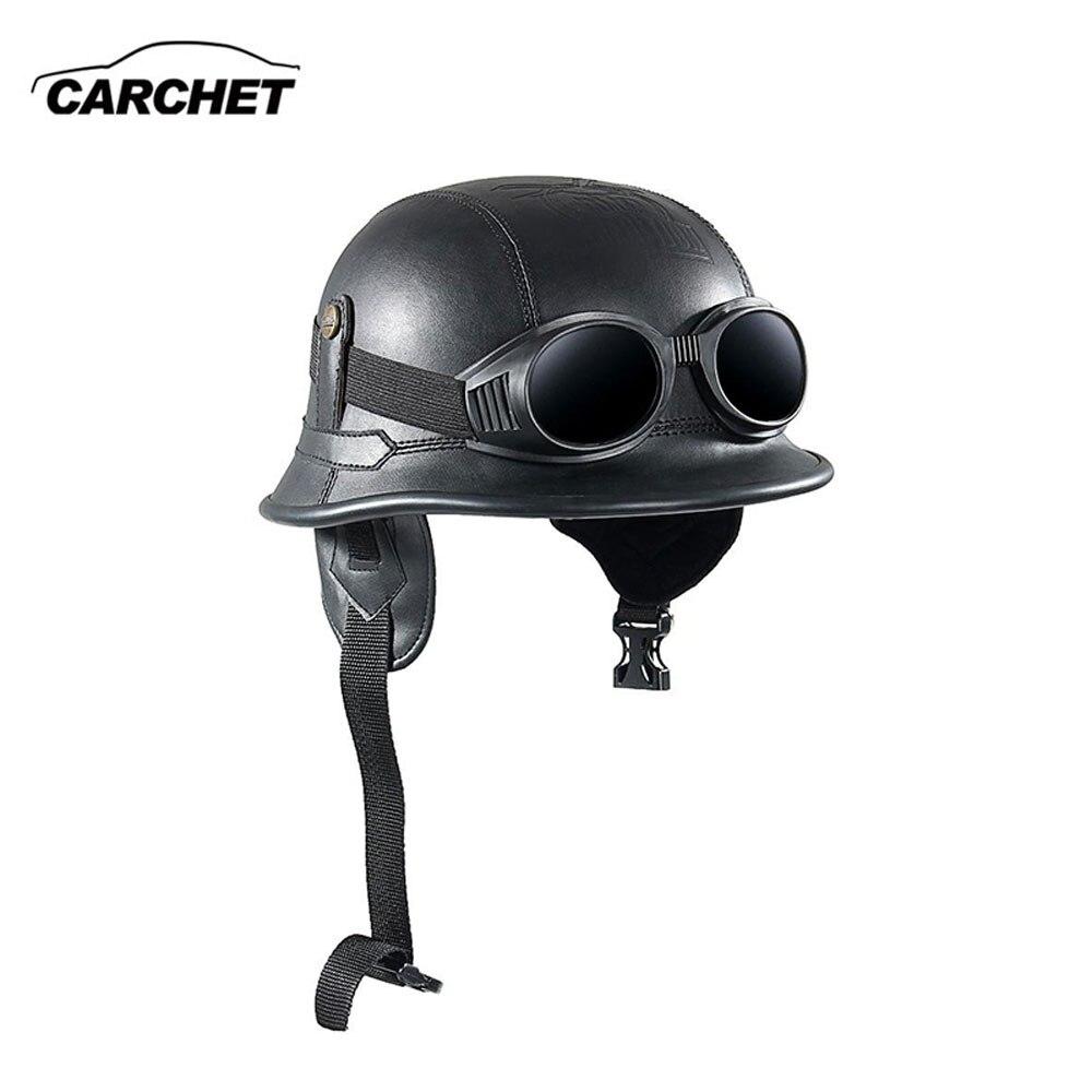 CARCHET Vintage Motorradhelme Retro Half Shell Goggle Helm 56 60 cm ...