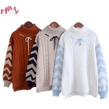 f3f0d898a Mujeres de Japón Jersey suéter otoño cuello alto giro caliente suéteres de  invierno las chicas Mori mujer encaje sudaderas ropa