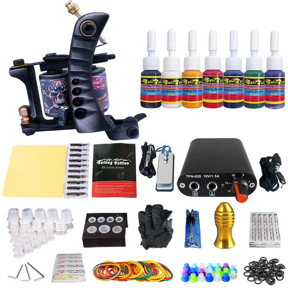 Solong Tattoo Complete Beginner Tattoo Kit 1 machine Gun 7 Color Inks Power Supply Grips Foot Petal Needles Set TK105-50Solong Tattoo Complete Beginner Tattoo Kit 1 machine Gun 7 Color Inks Power Supply Grips Foot Petal Needles Set TK105-50