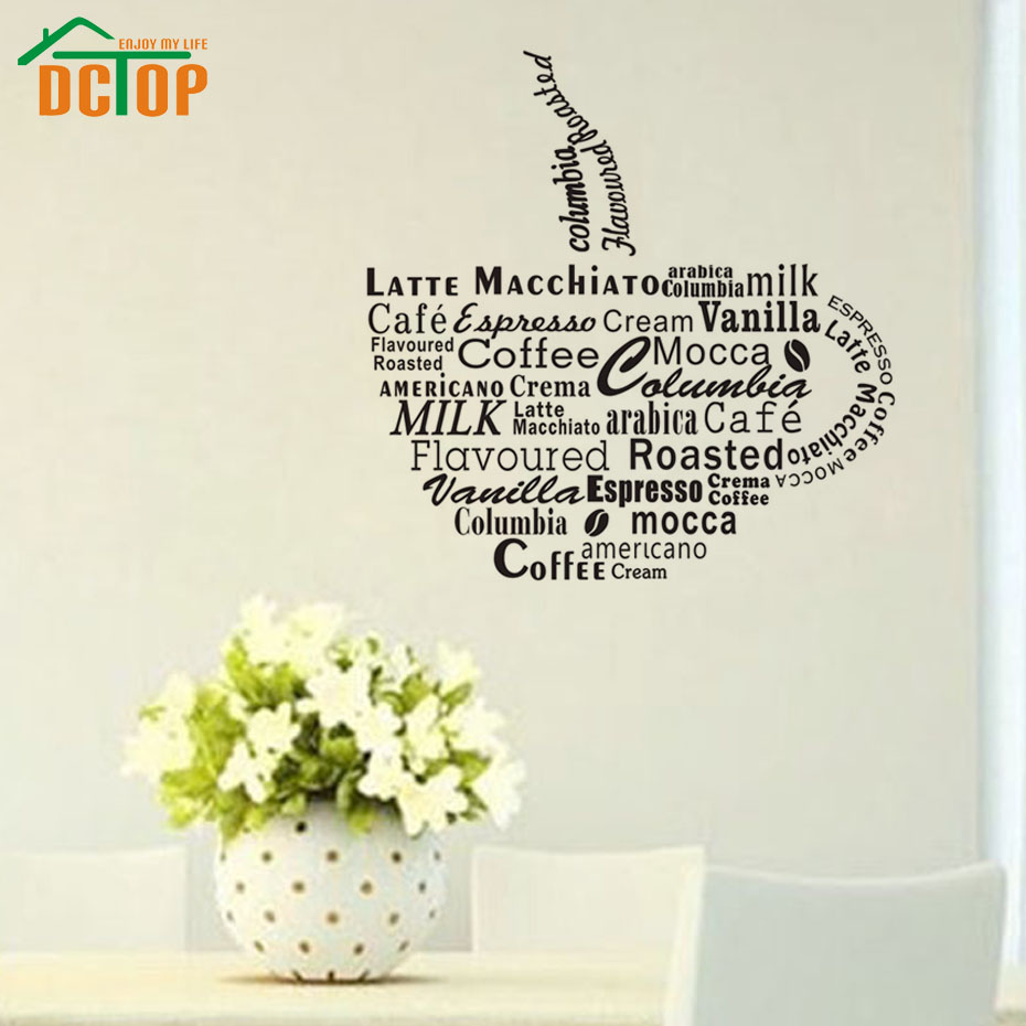 Dctop large stickers wall cup coffee special dining room for Dining room wall art stickers