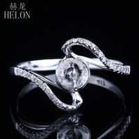 HELON Solid 14K White Gold 8 5 10 75mm Round Pearl Engagemen Wedding Semi Mount Diamond