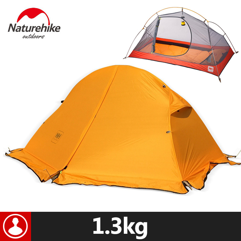 Naturehike Outdoor Tent With Camping Mat 1 Person 20D Silicone Fabric 4 Season Ultralight Double Layers Tent 1.3kg 1.5kg naturehike 2 person tent ultralight 20d silicone fabric tents double layer aluminum rod camping tent outdoor tent 4 season