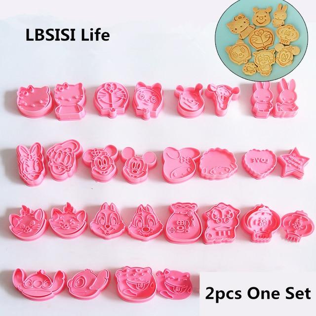 LBSISI Życie 2/4 sztuk Ciasteczka Narzędzia Cookie Cutter Form Formy Do Pieczenia 3D Kreskówki Herbatniki Narzędzie MAJSTERKOWICZA Pieczenia wycinaki tłokowe
