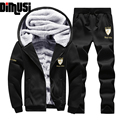 Mens Casual Thick Inner Wool Hoodies Sweatshirts Male Active Suit Men Sportswear Man Leisure Tracksuit Sets 4XL,YA462