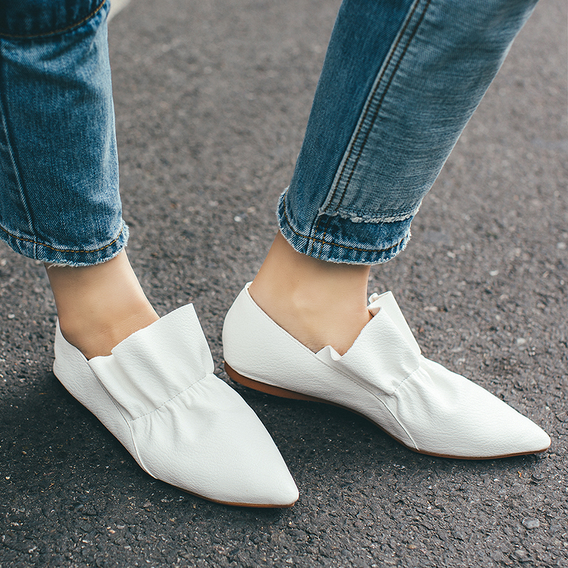 ФОТО 2017 New Style Women Flats Ladies Shoes Fashion Cow Leather Solid Soft Loafers Summer Women Casual Flat Boat Shoes For Women