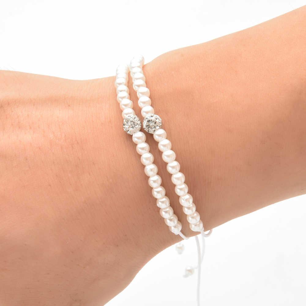 12pcs/lot Handmade Woven Rope Chain Pearls Bracelet Set Crystal Disco Ball Strand Beads Bracelet for Women Fashion Jewelry
