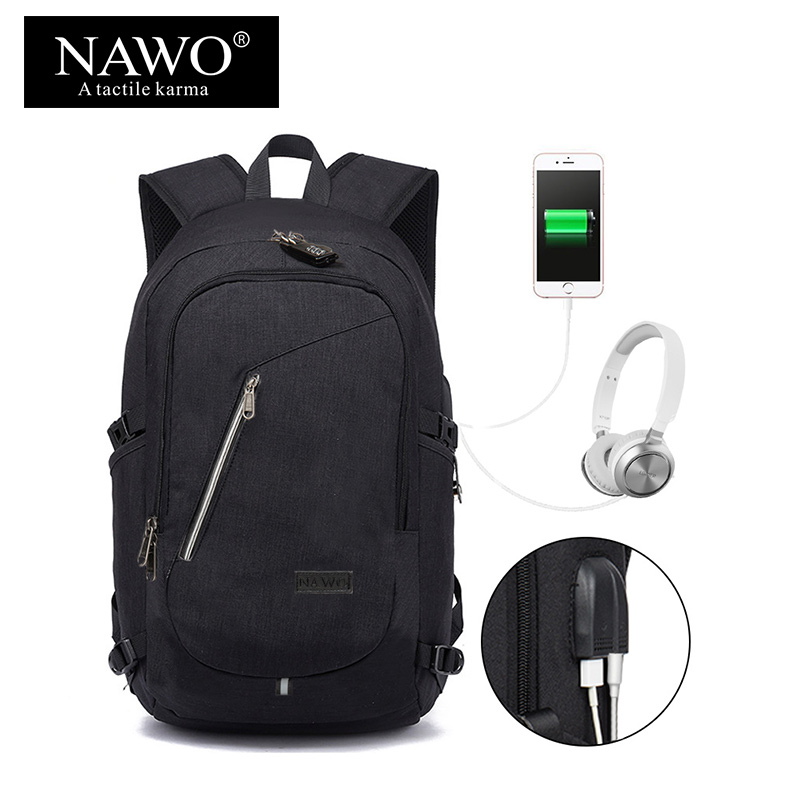 NAWO Multifunction Laptop Backpacks For Teenager 14 15 inch Business Backpacks USB Charging Travel Backpack Casual Male Mochila 14 15 15 6 inch flax linen laptop notebook backpack bags case school backpack for travel shopping climbing men women