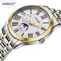 Amantes longbo reloj de cuarzo relojes mujeres de los hombres pareja analógica relojes de pulsera de cuero de moda casual relojes de oro 1/pcs 5013