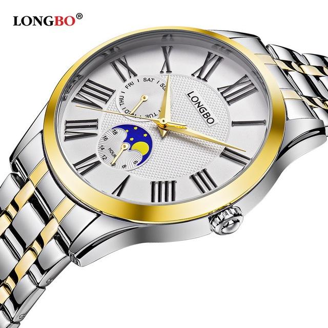 Longbo relógio de quartzo amantes de relógios dos homens das mulheres casal relógios analógicos relógios de pulso de couro moda casual relógios de ouro 1/pcs 5013