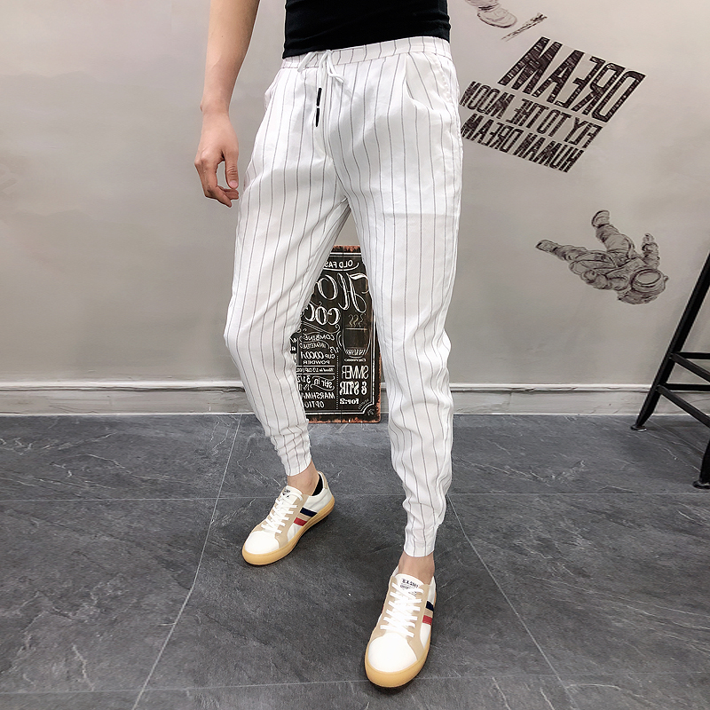 Harem-Pants Black White Ankle-Length Striped Stretchy Summer Mens High-Quality Casual