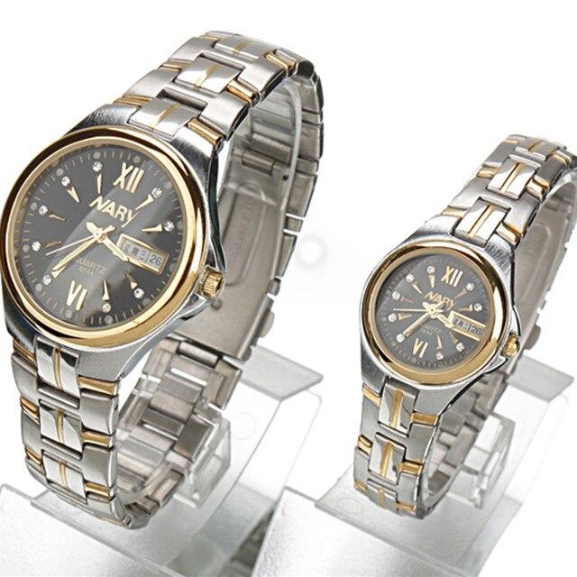 2017 Moda Hombre de negocios NARY relojes de acero reloj de cuarzo Pantalla DoubCalendar Masculino rhinestone relojes hombres y mujeres relojes de pulsera