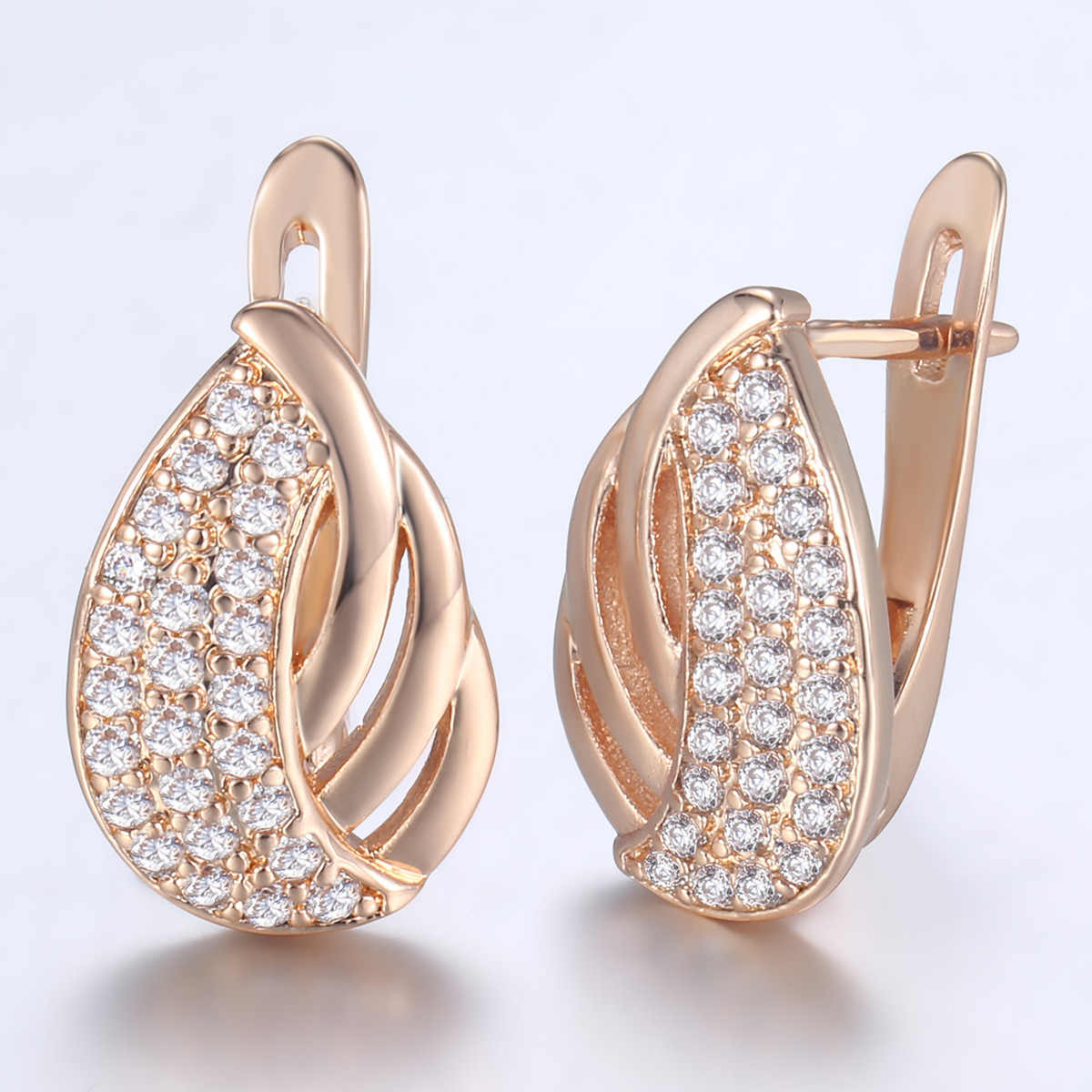 b0d9241b7 Davieslee 585 Rose Gold Filled Stud Earrings For Women Leaf Shaped Paved  Clear CZ Earrings Womens