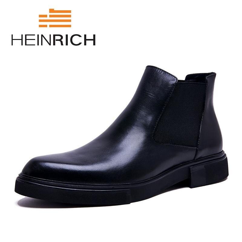 Генрих кожа Мужские ботинки Для мужчин резиновые сапоги модная зимняя обувь Для мужчин водонепроницаемые ботинки «Martin» роскоши Stivali Invernali