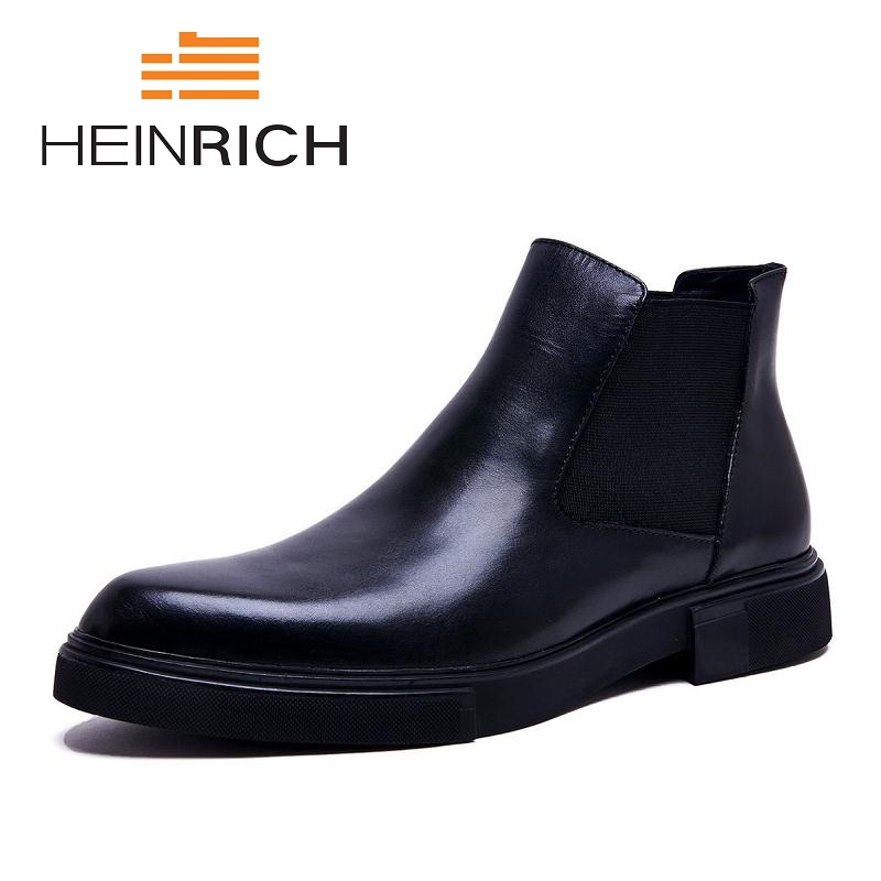 HEINRICH Leather Men Boots Men Rubber Boots Fashion Winter Shoes Men Waterproof  Boots Luxury Product Stivali InvernaliHEINRICH Leather Men Boots Men Rubber Boots Fashion Winter Shoes Men Waterproof  Boots Luxury Product Stivali Invernali