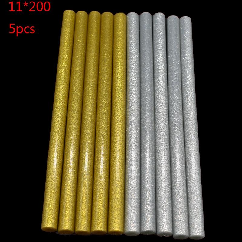 Gold Or Sliver 11mm*200mm Hot Melt Glue Sticks For Glue Gun Craft Phone Case Album Repair Accessories Adhesive 11mm Sticks 5Pc