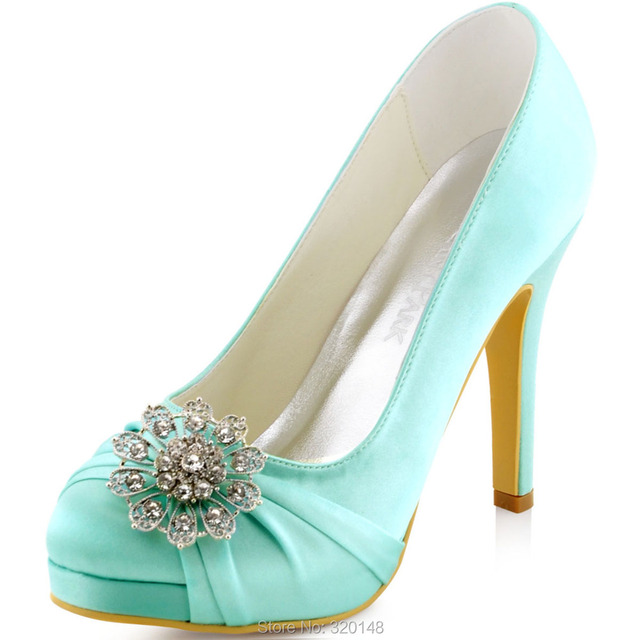 Woman Shoes Rhinestones High Heel Wedding Shoes Mint Size 9 Satin ...