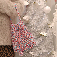 Candy bag beaded ins super fire pearl bag hand mixed color beads woven bag factory direct high end fashion bag