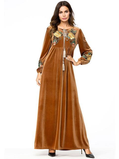 e0a4e2d2dda7 Islamic Dress Embroidery Casual Robe Brown Jilbab Velvet Dubai Style Women  Lady Muslim Clothing Dubai Abaya Jilbab Dubai Style