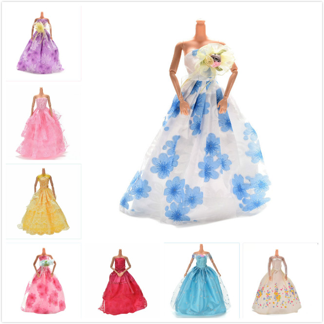 Lace Multi Layers Wedding Dress For Barbie Doll Luxury Floral Dolls Accessories Doll Dress Clothes Clothing Elegant one piece multi styles handmade for barbie dress fashion mini doll dress for barbie dolls party slim dress clothing accessories