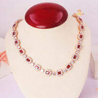 N200852 New red zircon square CZ necklace zinc Alloy silver color rose gold color with white high quality zircon wedding jewelry