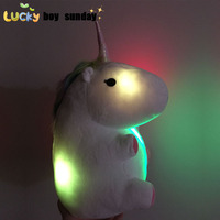 LED Grow Lighting Rainbow Unicorn Plush Toy Cartoon Unicorn Indoor Plush Slippers Winter Warm Indoor