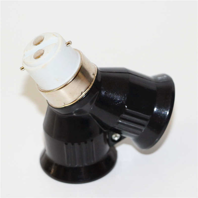 1 pièces ignifuge ABS matériel B22 à 2E27 support de lampe convertisseur noir LED ampoule Base de lampe B22 à 2 E27 lumière LED adaptateur prise
