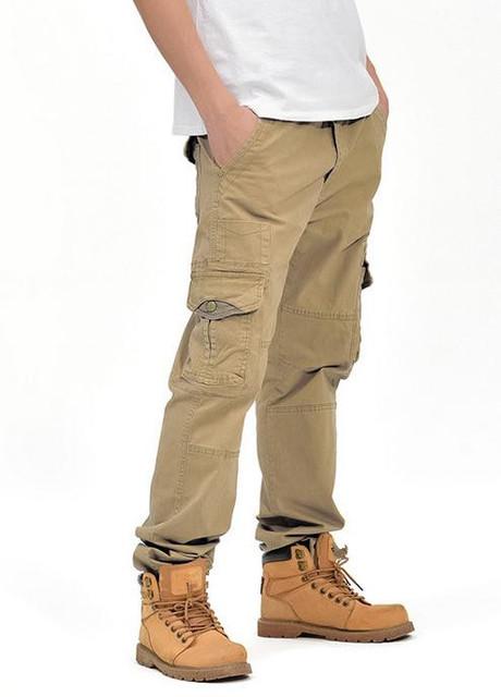 Moda #1966 de Algodón de Los Hombres de Carga Pantalones Hombre Pantalones Largos Pantalones Otoño Invierno Recta de gran tamaño en general 34 36 38 Bottoms