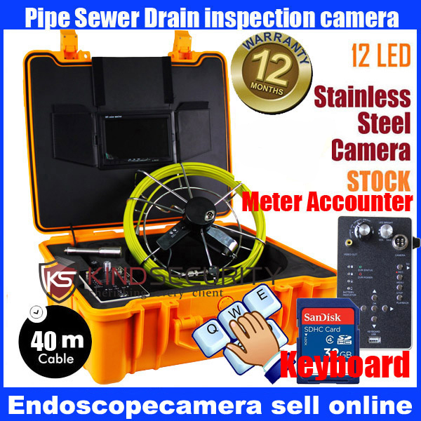 waterproof 40M meter accounter keyboard recorder Waterproof Pipe Sewer Snake Inspection Camera Kit 7 LCD Color Mon DVR 20m cable fiber glass 7 tft lcd waterproof pipe sewer inspection camera ccd600tvl with meter accounter endoscope snake camera