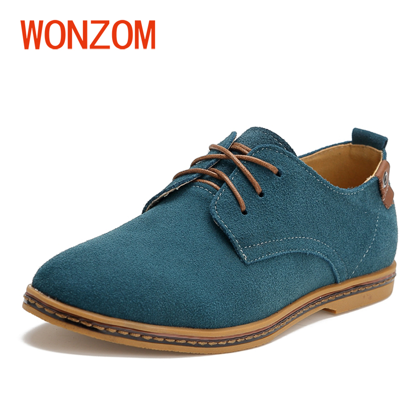 WONZOM 2018 New Fashion Genuine Leather Men Casual Shoes High Quality Brand Cow Leather Derby Shoes Soft Comfort Plus Size 38-48 wonzom high quality genuine leather brand men casual shoes fashion breathable comfort footwear for male slip on driving loafers
