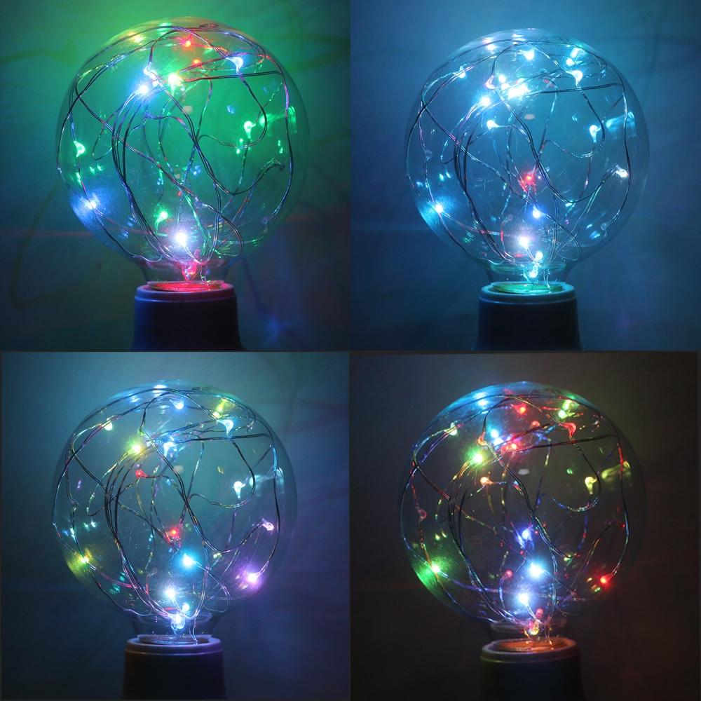 RGB LED Bulbs Incandescent Bulb E27 Vintage Lamp AC 110V 240V 3W Filament Light For Christmas Wedding Party Decor Home Lighting in LED Bulbs Tubes from Lights Lighting