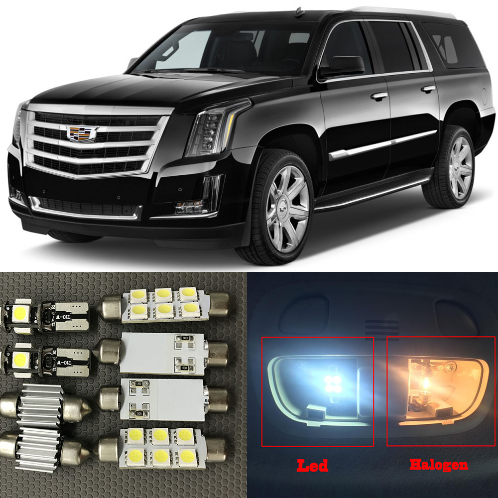 17pcs Auto Interior LED Lights Bulb White Kit For 2007-2015 Cadillac Escalade Map Dome Trunk License Plate Lamp 12V Car Styling