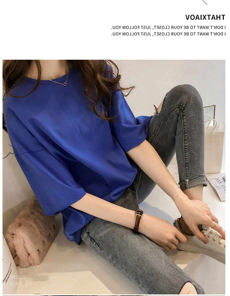 Candy Color Short Sleeve Loose T-Shirts Girls Summer 19 New Cool O-Neck Boyfriend Student Women T-Shirt Lady Tops Plus Size 21
