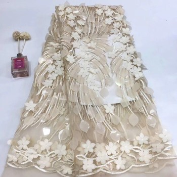 wholesale price gold sequin Nigerian fabric high quality african tulle lace Sequins fabric for Wedding Dresses ffj41