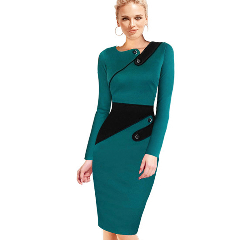 Black Dress Tunic Women Formal Work Office Sheath Patchwork <font><b>Line</b></font> Asymmetrical Neck Knee Length Plus Size Pencil Dress B63 B231