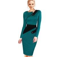 Black Dress Áo Dài Phụ Nữ Làm Việc Chính Thức Văn Phòng Vỏ Bọc Chắp Vá Dòng Asymmetrical Cổ Knee Length Cộng Với Kích Thước Pencil Dress B63 B231