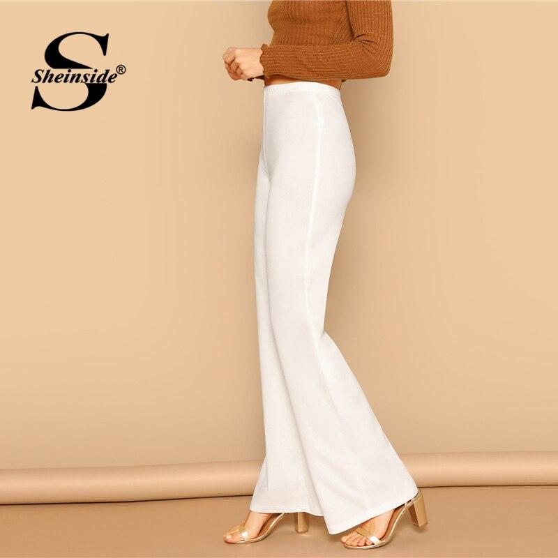 Image 4 - Sheinside czarne proste spodnie z wysokim stanem letnie szerokie nogawki w pasie spodnie robocze damskie biurowa, damska jednokolorowe spodnieSpodnie i spodnie capri   -