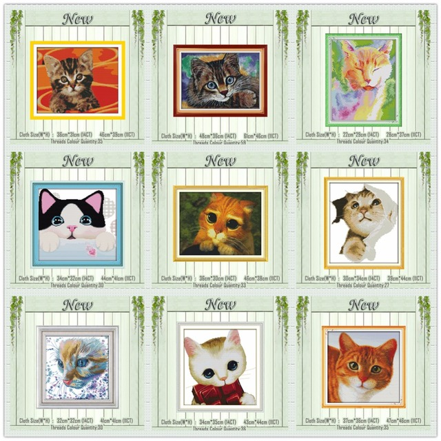 Lovely Watercolor cat butterfly diy painting counted printed on canvas DMC 14CT 11CT Cross Stitch Needlework Sets Embroidery kit