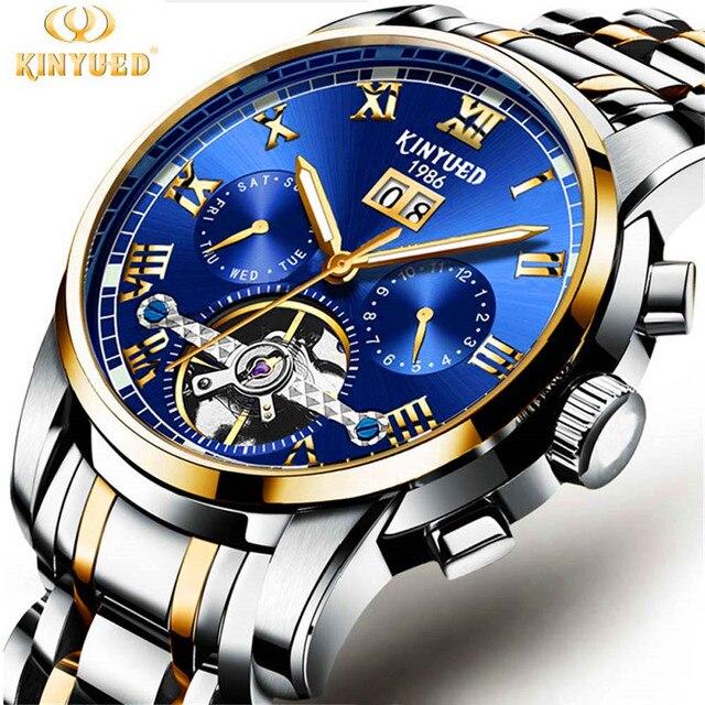 1680e5b09c2 KINYUED Tourbillon Relógios Mecânicos Calendário Cristal de Safira Relógio  Automático Homens de Aço Completa Relogio masculino