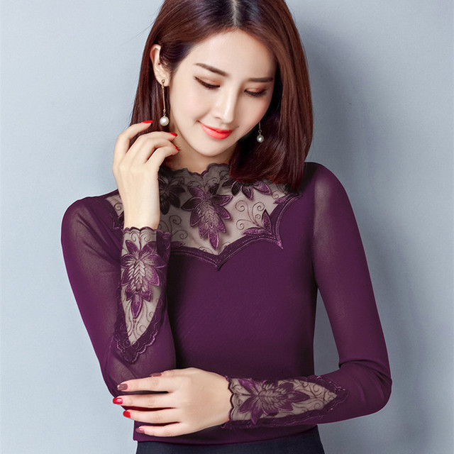 da3b2792e8f6 Nuevas camisas de manga larga encaje para mujer blusa malla negra ajustada  Mujer Tops negocios talla grande